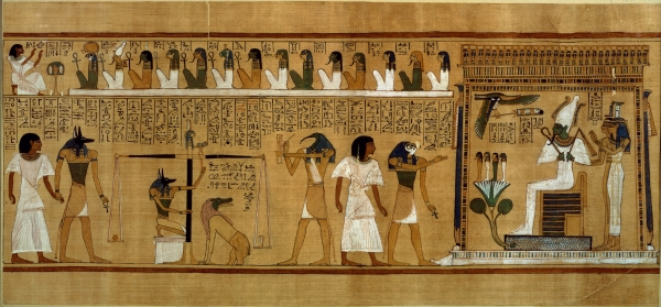 The Weighing of the Heart against Maat's Feather of Truth, from the Book of the Dead of the Royal Scribe Hunefer, New Kingdom, c.1275 BC (papyrus) Bridgeman Art Library